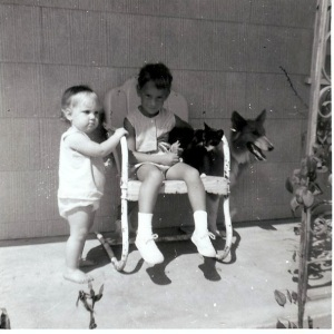 Me, Fran with Boots, Missy watching the baby ;)